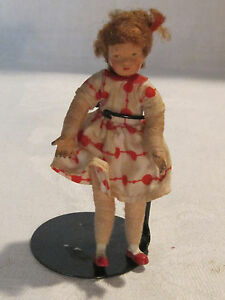 Older vintage 1:12 Caco girl dollhouse doll from Germany, metal hands & feet