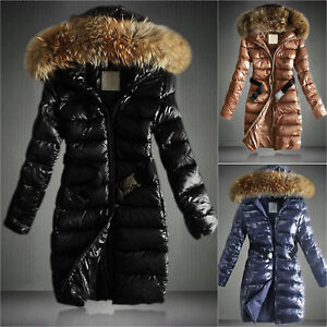 Womens-Thick-Winter-Long-Coat-Padded-Fur-Collar-Hooded-Quilted-Parka-Jacket-Belt