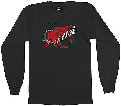 Threadrock Girls Drum Kit Fitted T-shirt Drummer Band Music Rock N Roll