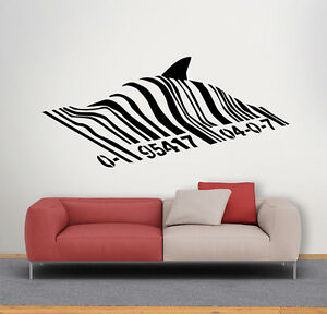 BANKSY-BARCODE-SHARK-Wall-Decal-Vinyl-autocollant-Street-Art-Graffiti-Mural-Decor