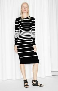 c7806cc6f03b   Other Stories Black   White Striped Fitted Jersey Dress Size EU 34 ...