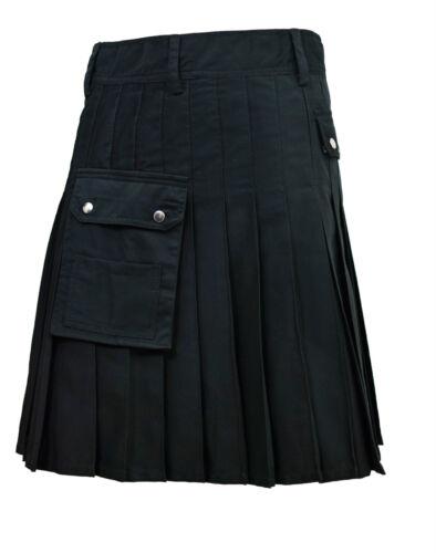 Alternative utility kilt noir en toile coton toutes les tailles moderne kilt