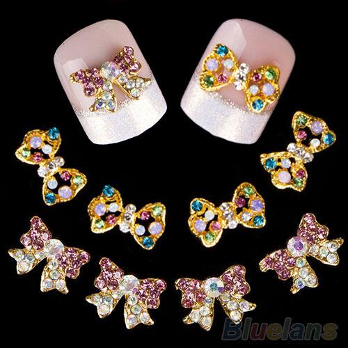 10x 3D Womens Hot Shiny Crystal Rhinestone Bow Knot Nail Art Stickers Nail Studs