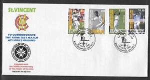ST VINCENT 2000 LORD'S CRICKET 100th TEST MATCH Set 4v FIRST DAY COVER