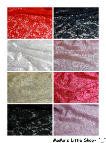 "½ M - Various Colours Quality Floral Embroidery STRETCH Lace Fabric 59/"" Width"