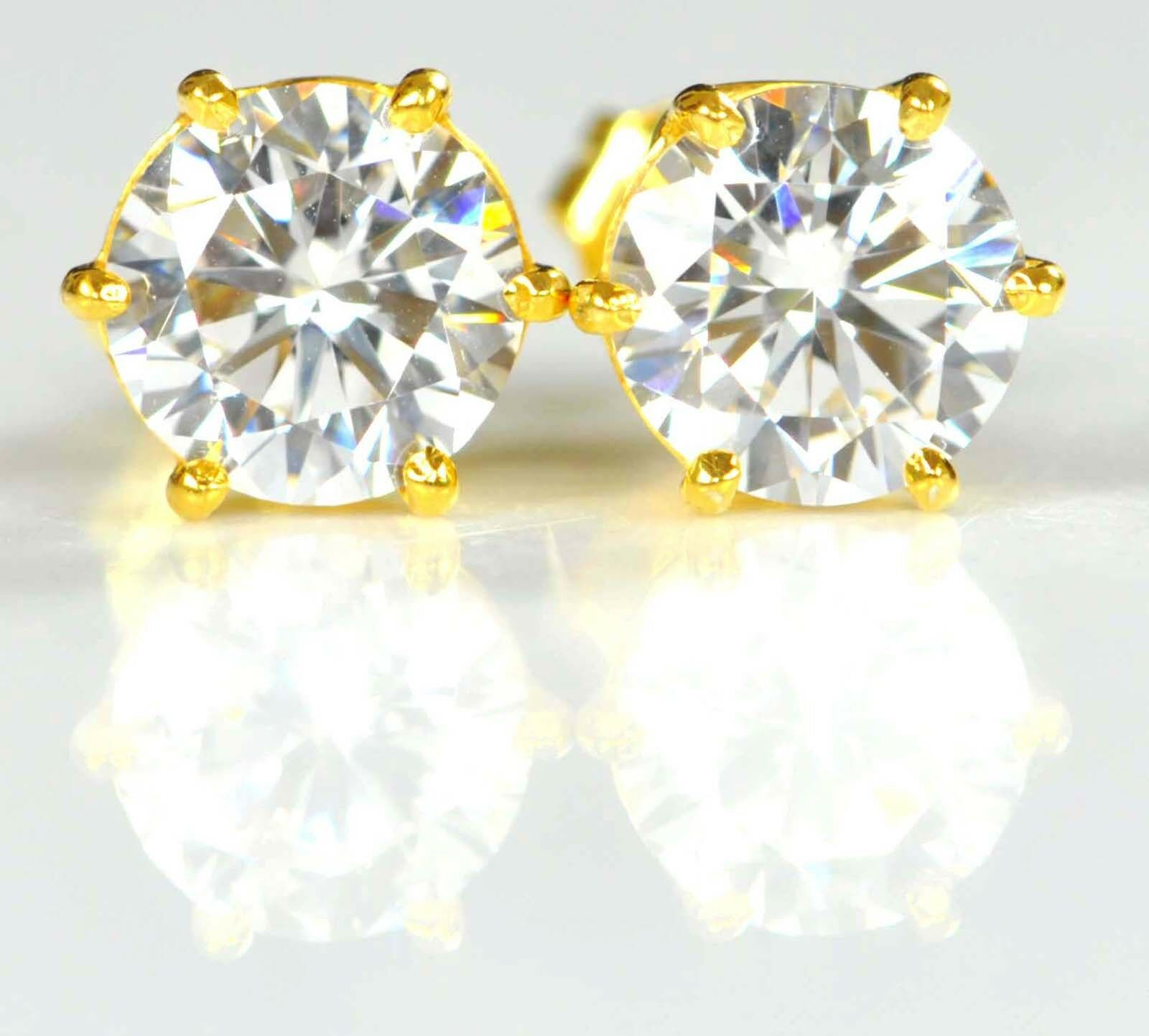 3.80 Carat 14KT Solid Yellow gold Awsome Round Shape Solitaire Women's Studs