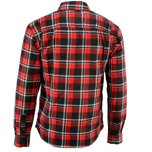 New Bikers Gear Kevlar® Lined Flannel Motorcycle Shirt Red Black White Flanny