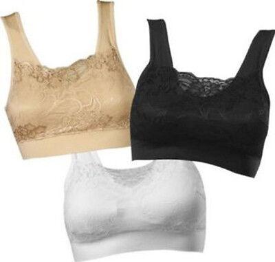 GENIE MILANA BRA Lace Cami Top Removeable Pads White Black & Nude - S M L XL 2XL