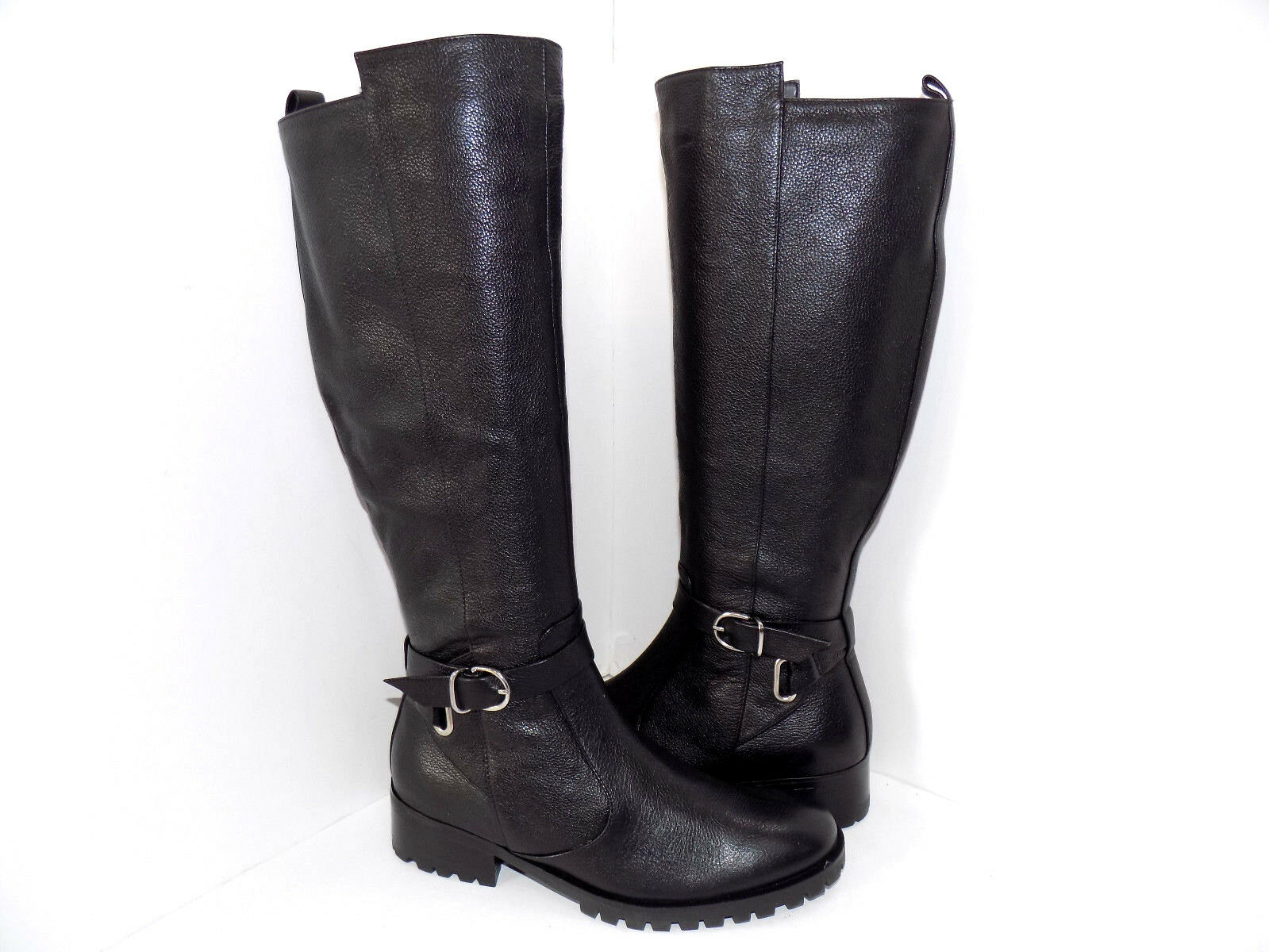 TESORI Women's Valencia Black Lether Riding Knee High Boots Boots