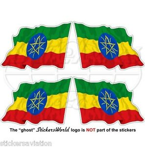 "ETHIOPIA Ethiopian Flying Flag, Africa 50mm(2"") Bumper-Helmet Stickers-Decals x4"