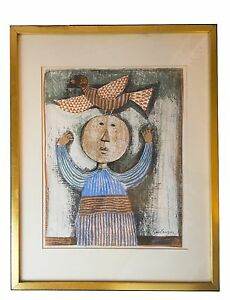 034-Woman-with-Bird-034-Lithograph-Graciala-Rodo-Boulanger-Signed-in-Plate-Framed