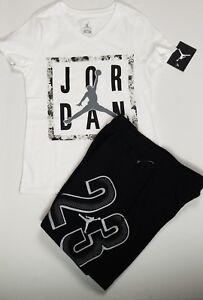 Nike Air Jordan Girls 2 PC Set Shirt Tee   Fleece Shorts Outfit Size ... 0f60b8e4d