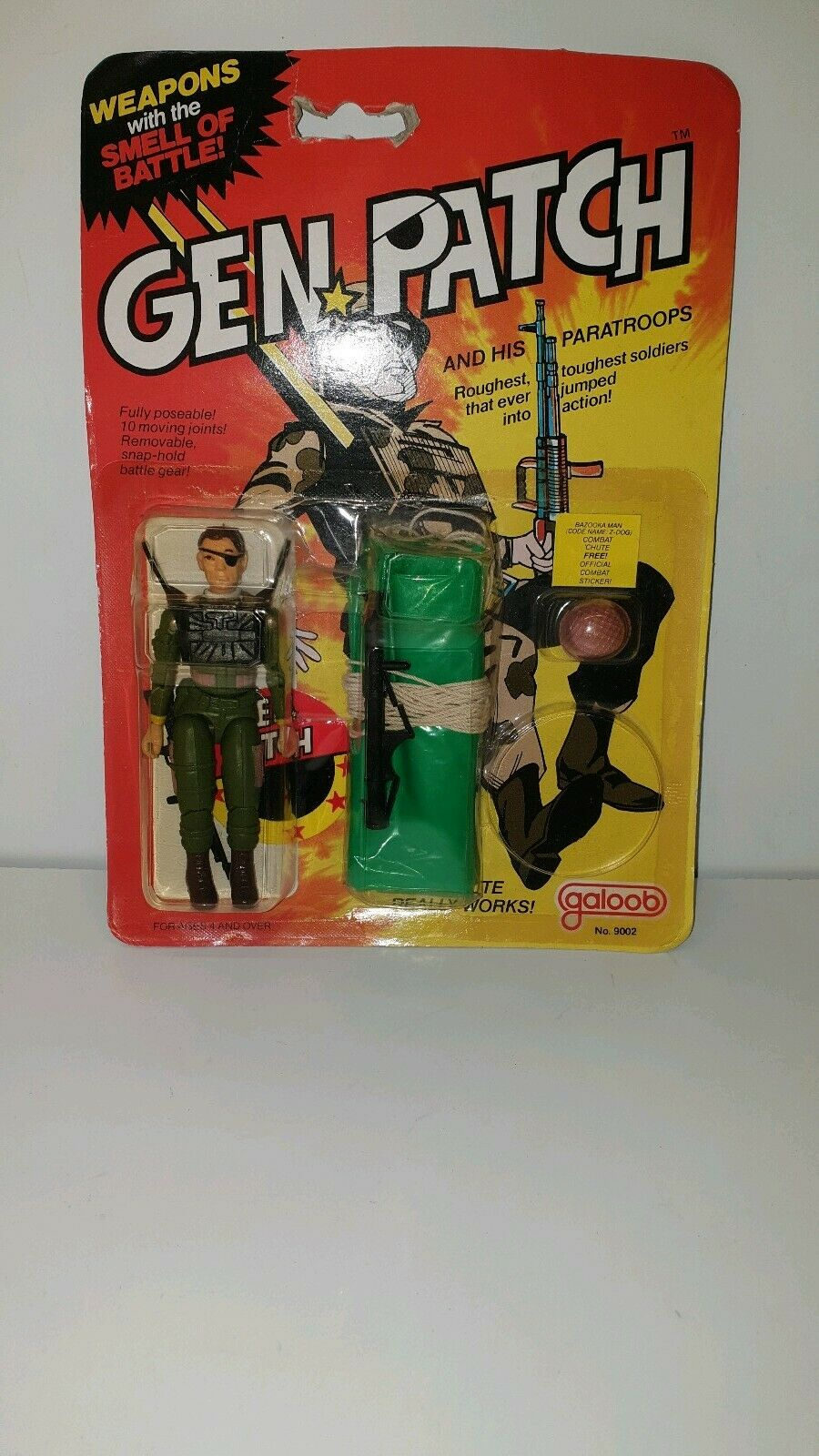 GEN PATCH 1982 GALOOB  ACTION FIGURE Bazooka Man (Z-Dog) w  Parachute GI JOE  2