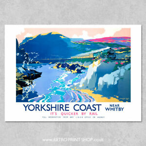 Kunstplakate Old Railway travel  advert poster reproduction. Yorkshire Coast