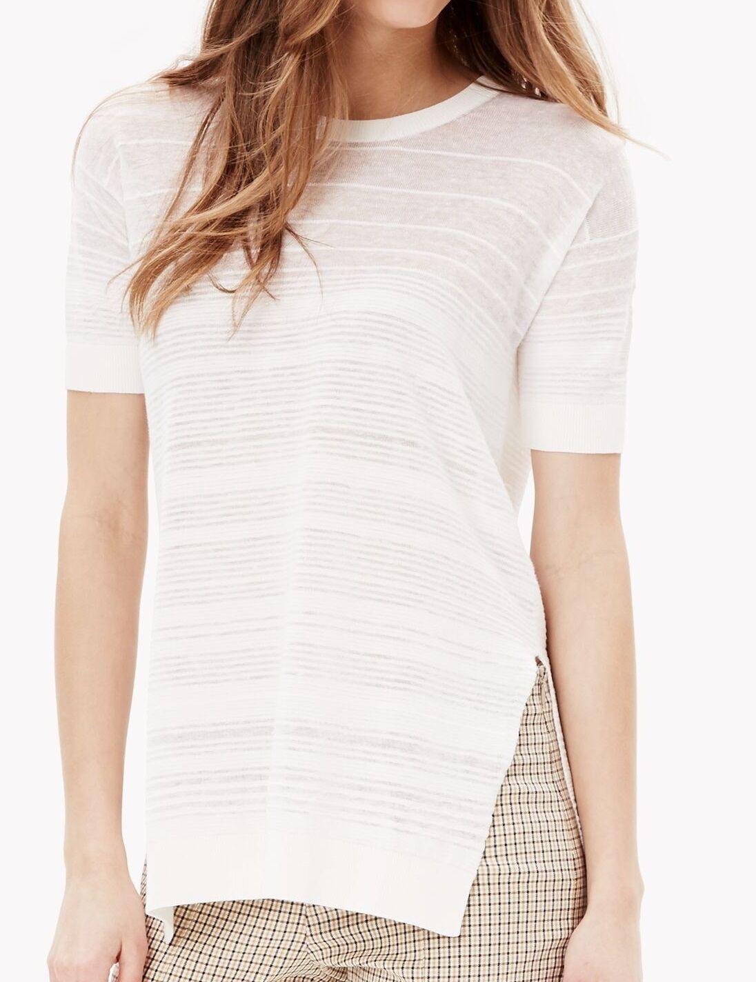 NWT  Theory Woherren Knit Variegated Stripe Linen Blend Tee
