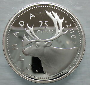 2007-CANADA-25-CENTS-PROOF-SILVER-QUARTER-HEAVY-CAMEO-COIN