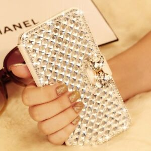 Luxury-Bling-Diamond-Wallet-Leather-Magnetic-Flip-Case-Cover-For-Various-Phone