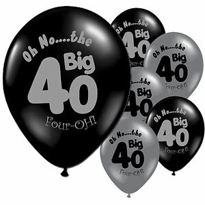 10-Black-Silver-40th-Birthday-Party-11-034-Pearlised-Latex-Printed-Balloons