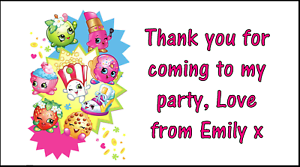 48 Shopkins Thank You Stickers Labels Party Bag Sweet Cones Personalised