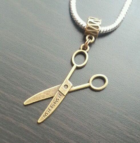 Scissors Hairdresser Dangle Bead Pendant for European Charm Bracelets Or Clip On