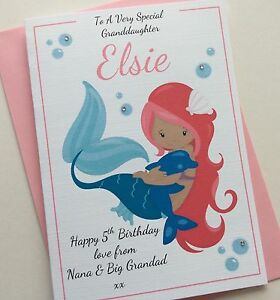 Personalised handmade pink mermaid birthday card daughter sister image is loading personalised handmade pink mermaid birthday card daughter sister bookmarktalkfo Images
