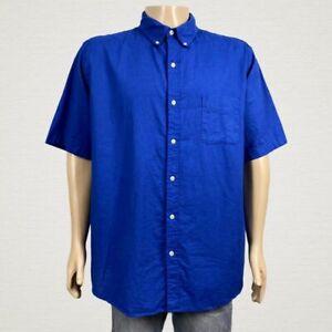 Chaps Linen Blend Button Front Camp Shirt 2XL Men's Royal Blue Short Sleeves