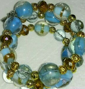New-Memory-Wire-Bracelet-With-Light-Blue-and-Gold-toned-glass-beads-Handmade