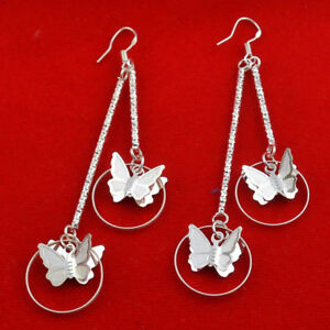 STUNNING-SILVER-PLATED-DOUBLE-BUTTERFLY-DROP-EARRINGS-3-1-4-INCHES-LONG