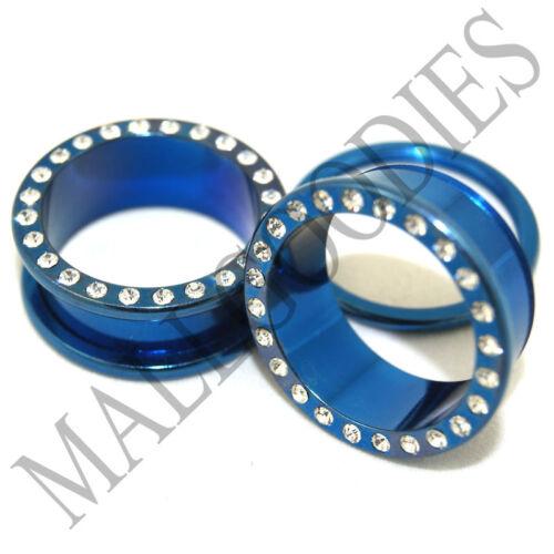 """0897 Blue Steel Screw-on//fit CZ Flesh Tunnels 1/"""" One Inch Ear Plugs 25mm"""