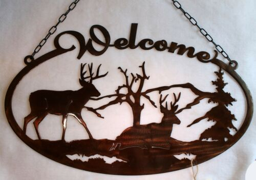 Welcome Sign DEER Oval Door Plaque Bucks in Trees and Mountains Metal Wall Art