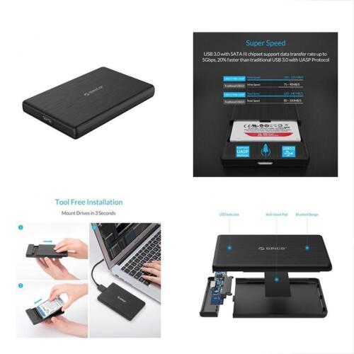 """USB3.0 SATA III 2.5/"""" External Hard Drive Enclosure 7mm 9.5mm Inch HDD//SSD Tool"""