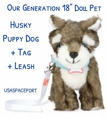 """Our Generation 18"""" Doll Grey HUSKY DOG Puppy for American Girl Boy Pet Vet Wolf"""