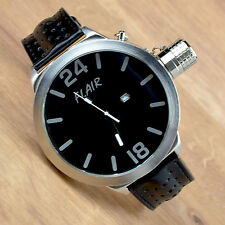 Armbanduhr XXL Lederband Uhr Schwarz Männeruhr Herrenuhr mit Datum Watch