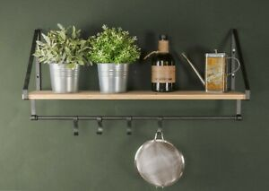 75cm Rustic Wood and Metal Wall Shelf Hooks Kitchen Cooking Utensils Shelving