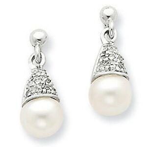 Brand New Sterling Silver 925 6mm Pearl & Diamond Post Earrings