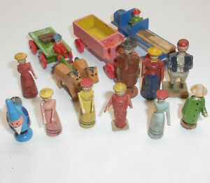 Convolute-Erzgebirge-Little-Man-Figures-Cars-Carriage