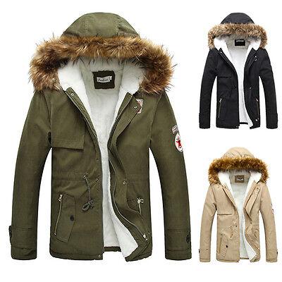 Big DISCOUNT Winter Warm Men Fur Collar Hooded Trench Coat Winter Jacket Outweat