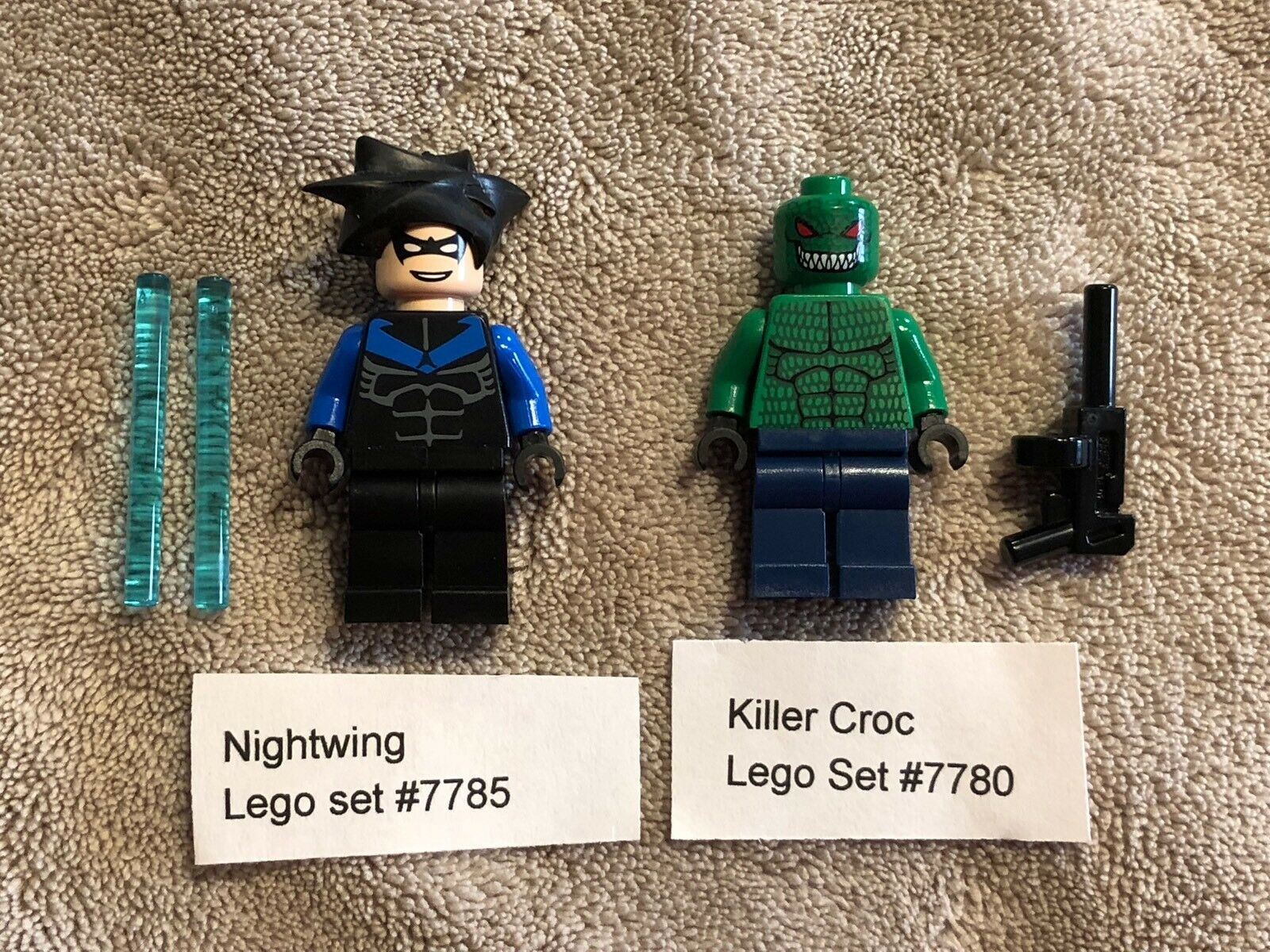 Authentic LEGO NIGHTWING & KILLER CROC Minifigures DC Super Heroes 7785 & 7780