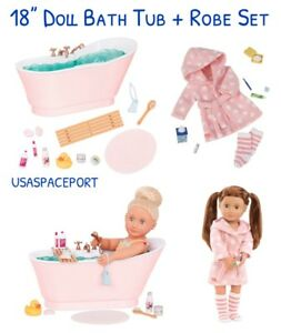 Deluxe 18 Doll Bath Tub Pink Robe Set For Our Generation American