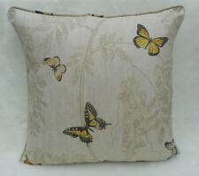 Sanderson Fabric Cushion Cover 'Wisteria & Butterfly' Linen/Citrus - 100% Linen