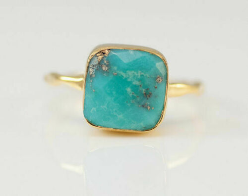 Unisex Fashion Simple Plated HOT Yellow Gold Proposal Ring Turquoise Wedding 18K