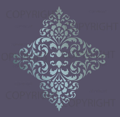LARGE WALL DAMASK STENCIL PATTERN FAUX MURAL  #1018