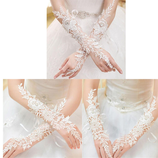 New White/Ivory Lace Long Fingerless Wedding Accessory Bridal Party GlovesODUS