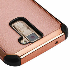 For LG K10 PHONE ROSE GOLD Lychee BLACK Grain HYBRID PROTECTOR SKIN CASE Cover