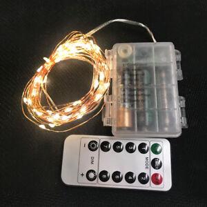 50 LED Kaltweiß 1 Stück Micro Draht Lichterkette mit Fernbedienung und Timer