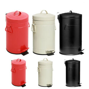 Details zu 3 / 30 LTR AMERICAN STYLE RETRO PEDAL BIN KITCHEN BATHROOM US  RUBBISH WASTE BIN