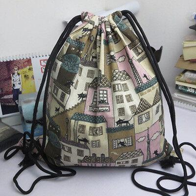 Fashion Men Women Backpacks Retro Print Drawstring Beam Port Shopping Travel Bag