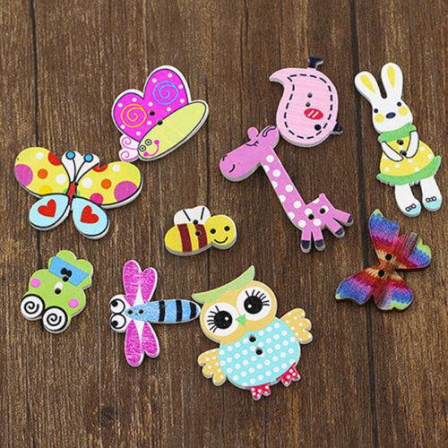 50Pcs Mixed DIY Wooden Popular Scrapbook Buttons Cartoon Sewing Animal Craft SE