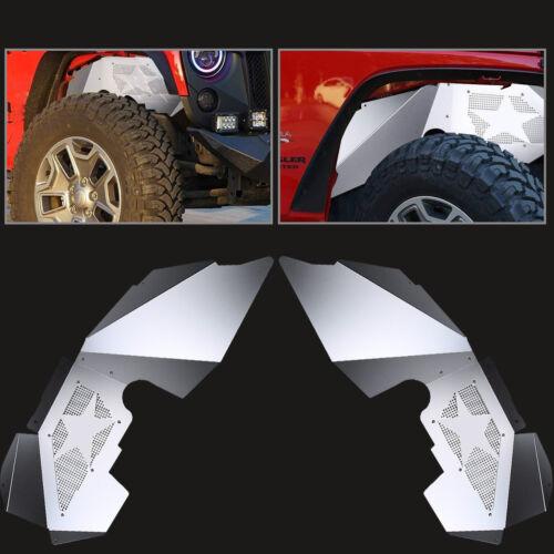 For 2007-2018 Jeep Wrangler JK Front Inner Fender Liners Kits Silver Aluminum