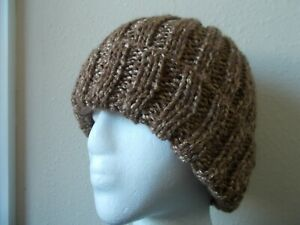 Hand knitted bulky /& warm beanie//hat shaggy blue//green//gray//brown